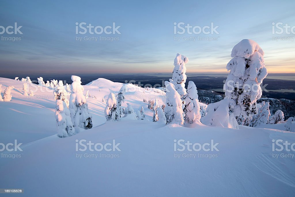 Mt. Seymour Sunset with Vancouver in the Distance stock photo