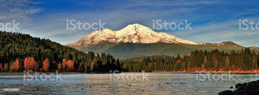 Mt. Shasta above Lake Siskiyou at sunset stock photo
