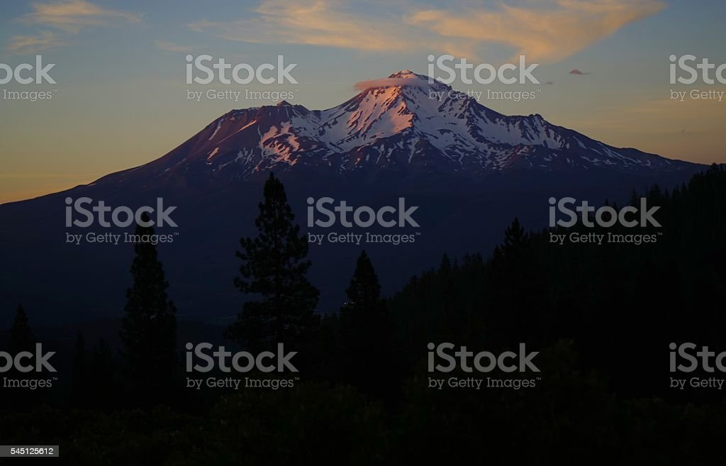 Mt. Shasta Dusk stock photo