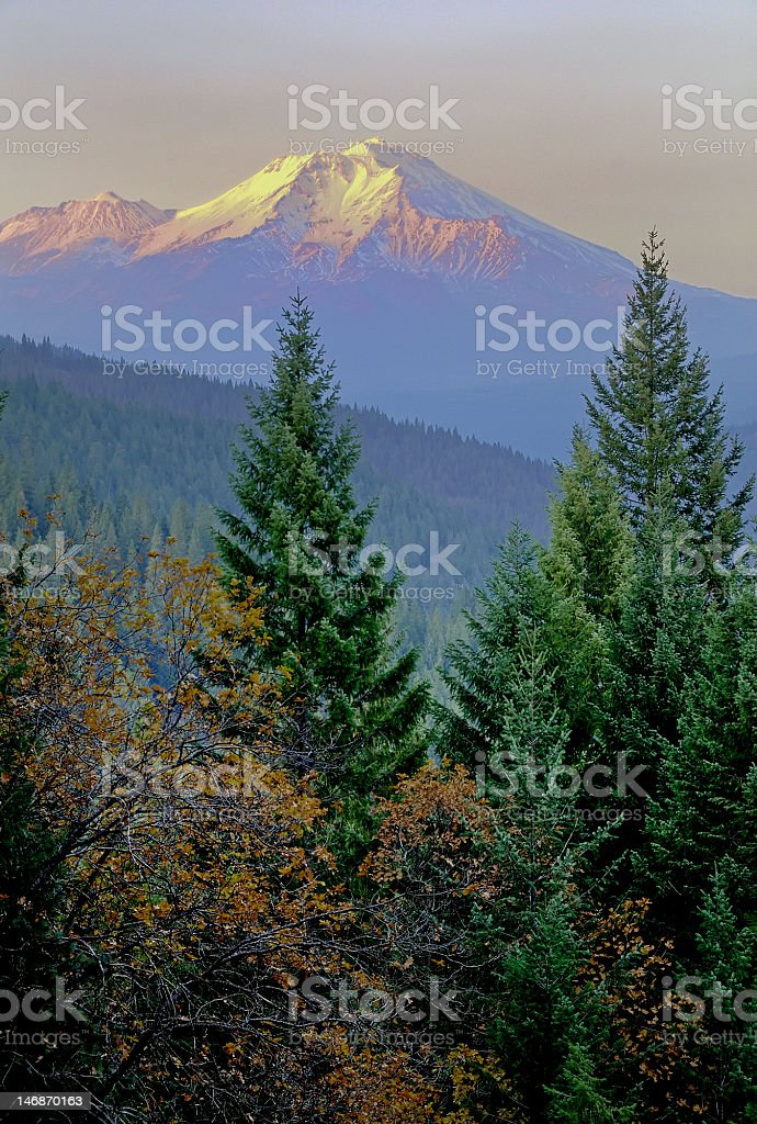 Mt. Shasta in Autumn, Northern California royalty-free stock photo