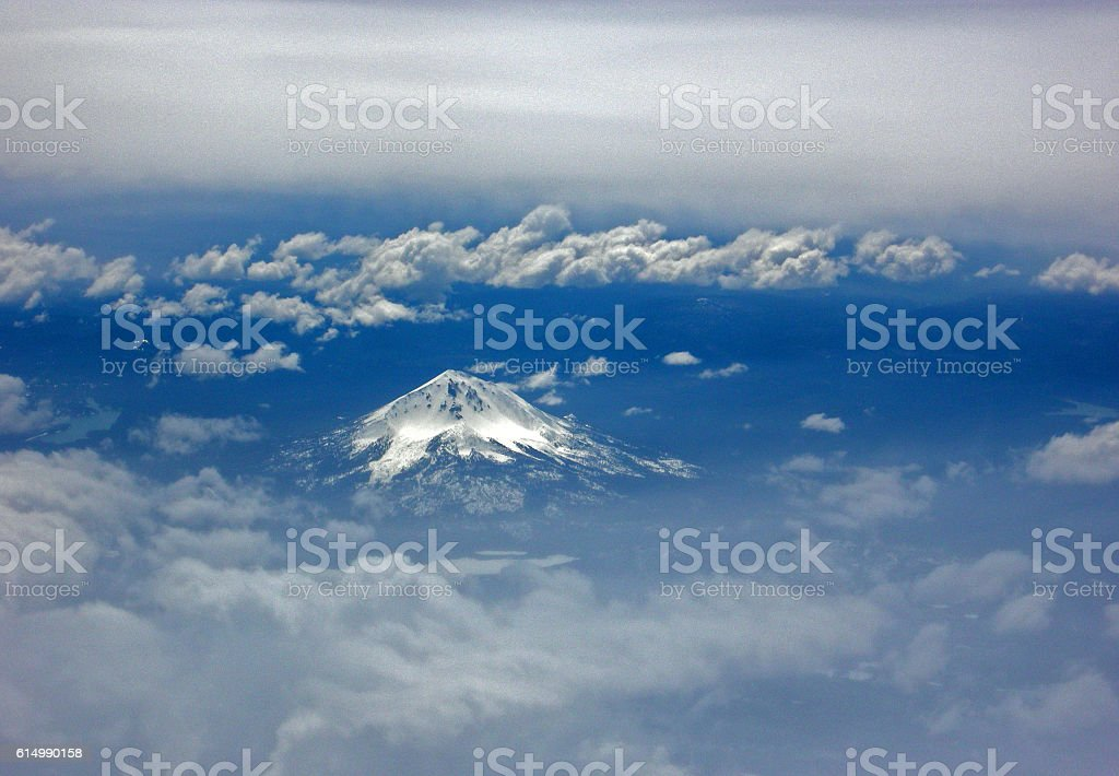 Mt. Shasta in the Clouds stock photo