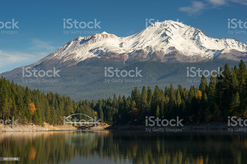 Mt Shasta Reflection Mountain Lake Modest Bridge California Recreation stock photo