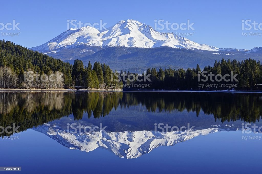 Mt. Shasta Reflection stock photo