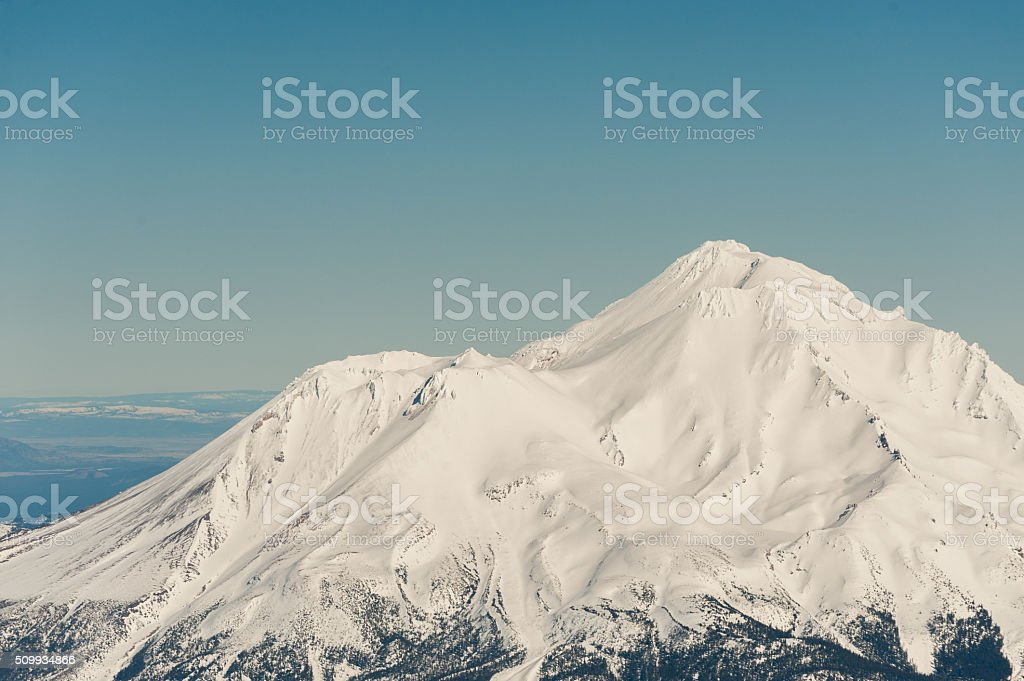 Mt. Shasta Summit Aeriel View stock photo