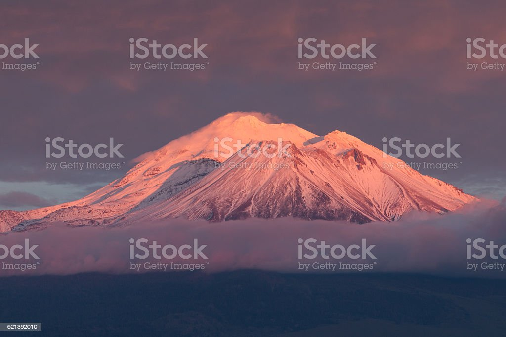 Mt Shasta with alpenglow stock photo
