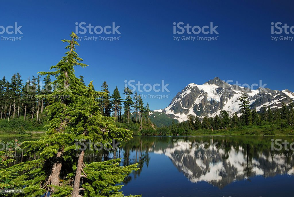 mt. shuksan and reflection on picture lake stock photo