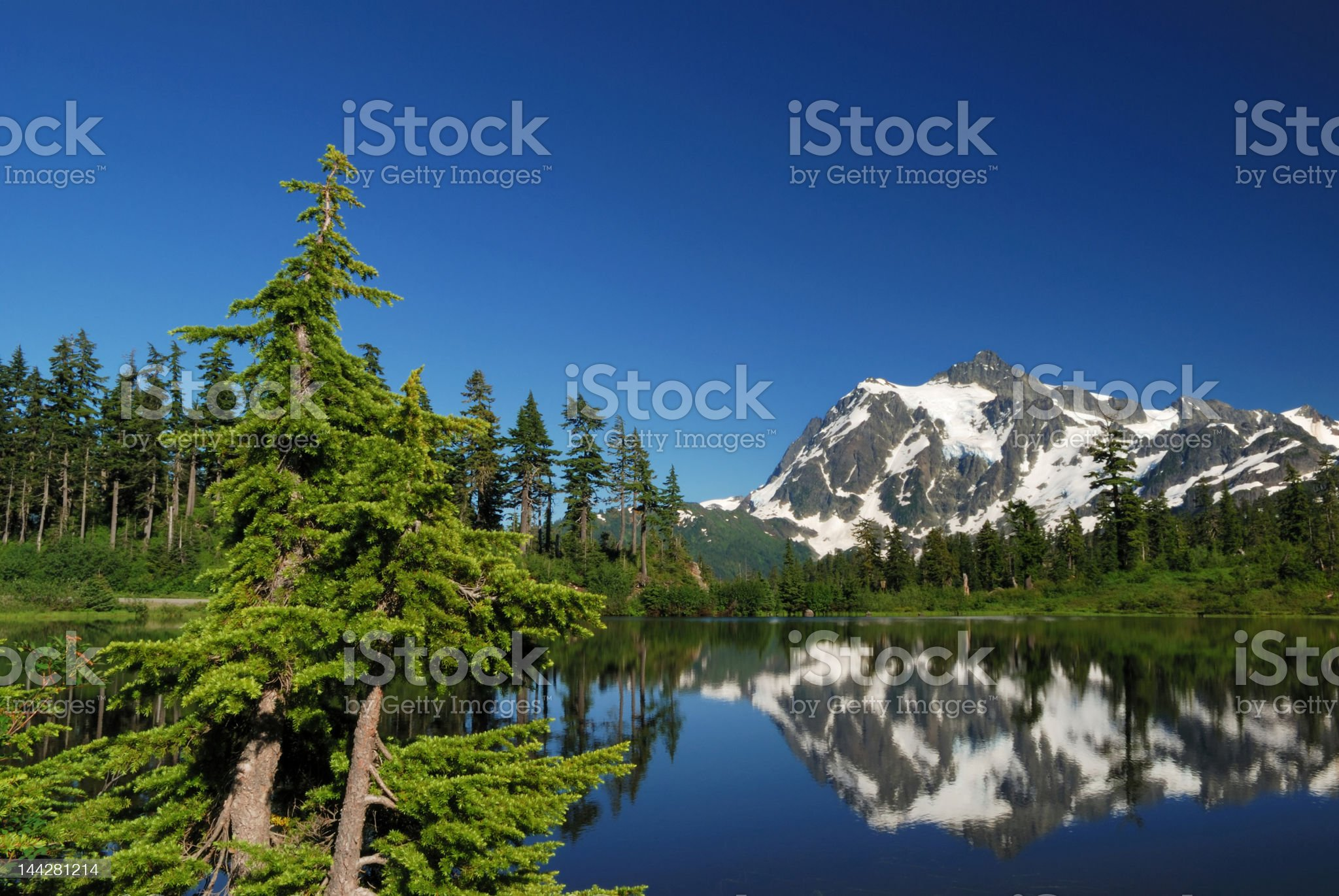 mt. shuksan and reflection on picture lake royalty-free stock photo