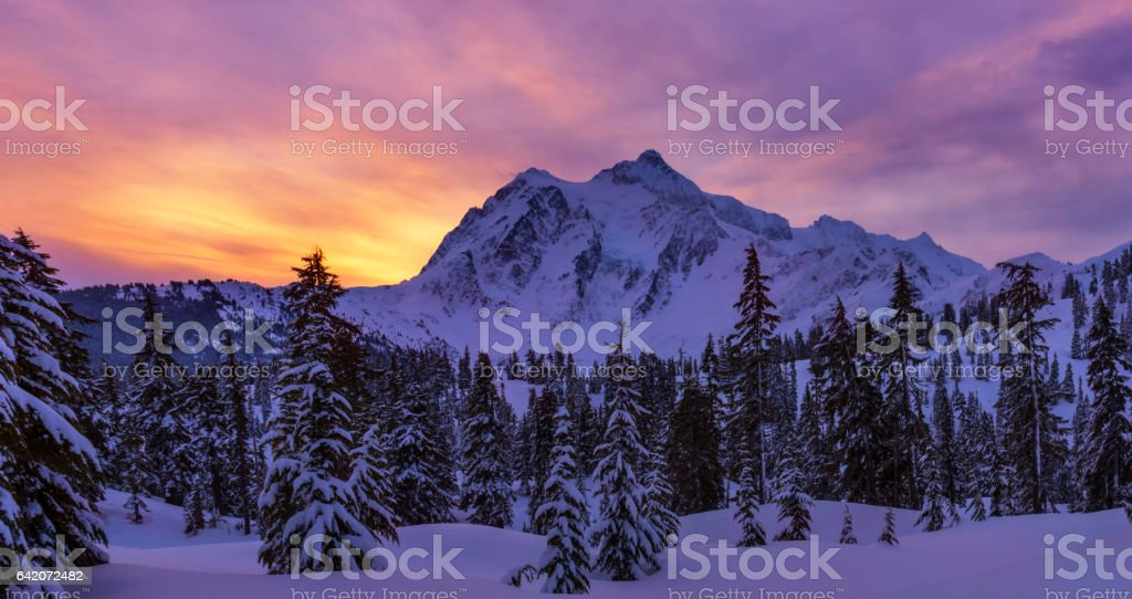 Mt Shuksan at Dusk stock photo