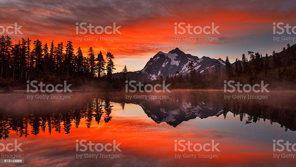 Mt Shuksan at Sunrise stock photo