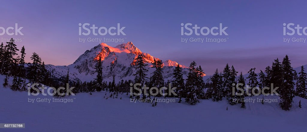 Mt Shuksan at Sunset stock photo