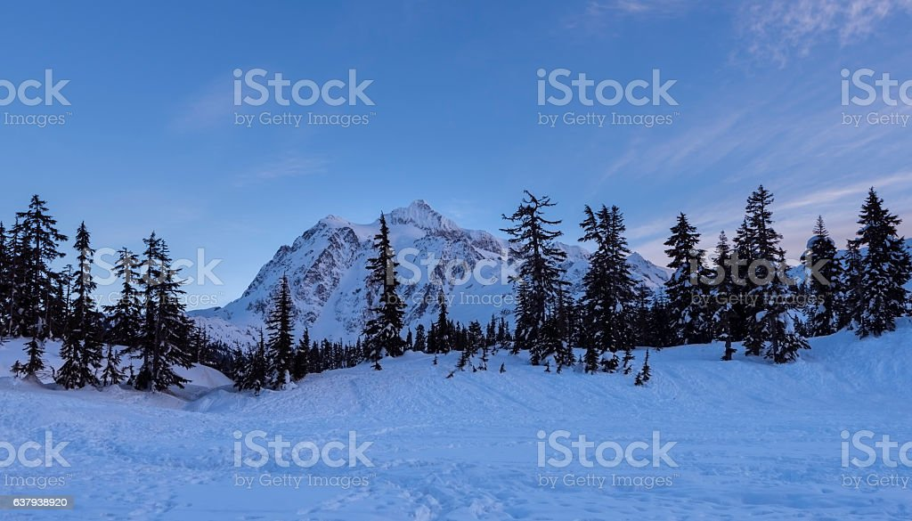 Mt Shuksan in Winter stock photo