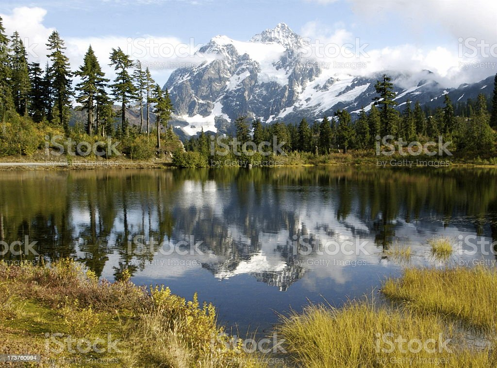 Mt. Shuksan Reflected In Picture Lake royalty-free stock photo