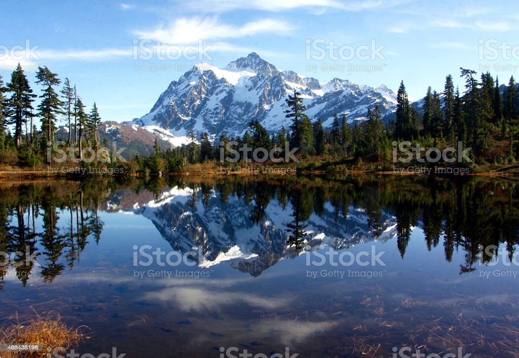 Mt, Shuksan Reflected In Picture Lake stock photo