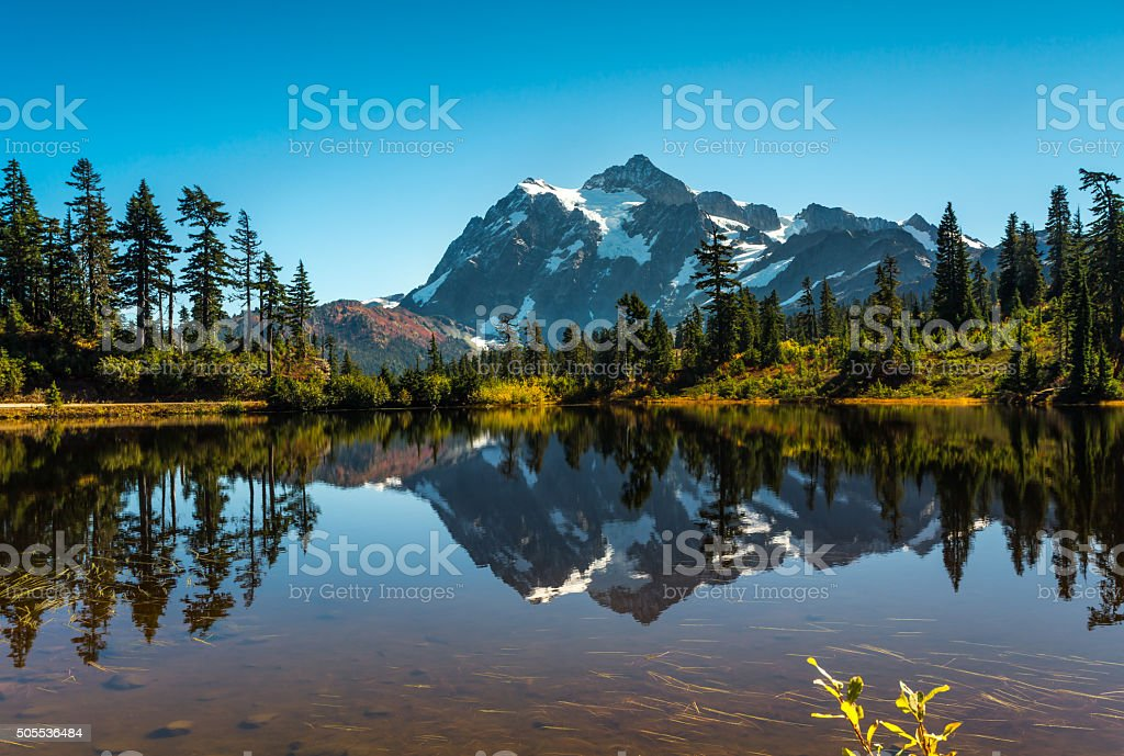 Mt. Shuksan reflection stock photo