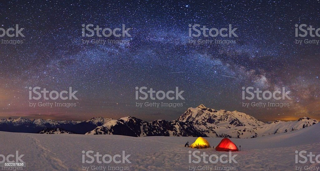 Mt Shuksan under Milky Way, camping at Huntoon Point stock photo
