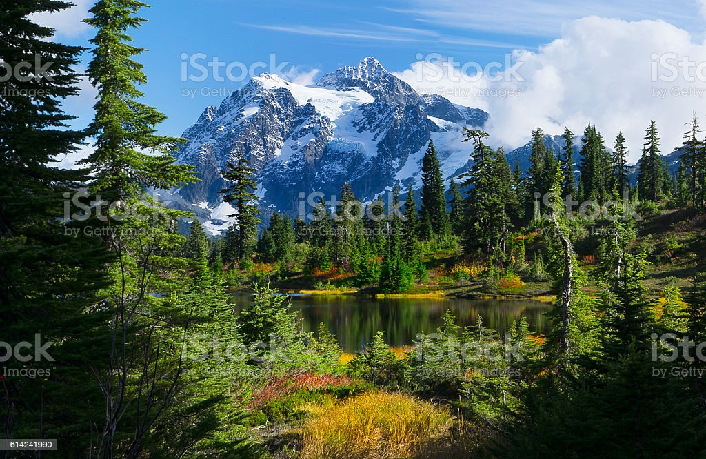 Mt Shuksan, Washington state from Picture Lake stock photo