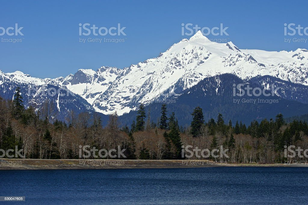 Mt. Shuksan's Blue Lake stock photo