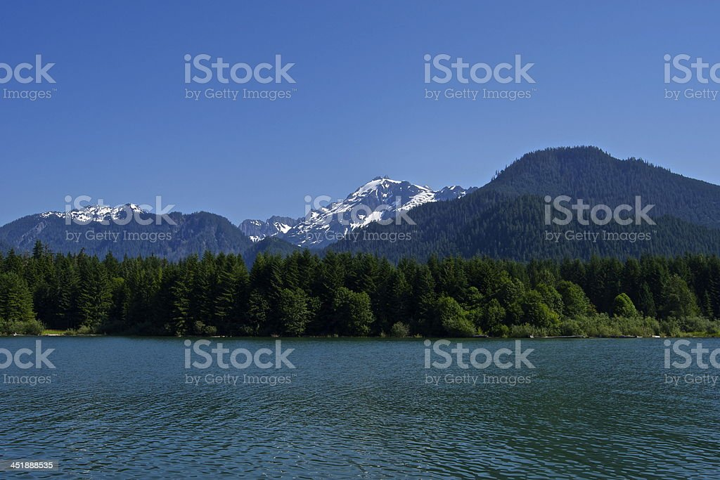 Mt. Shuksan's Green Lake stock photo