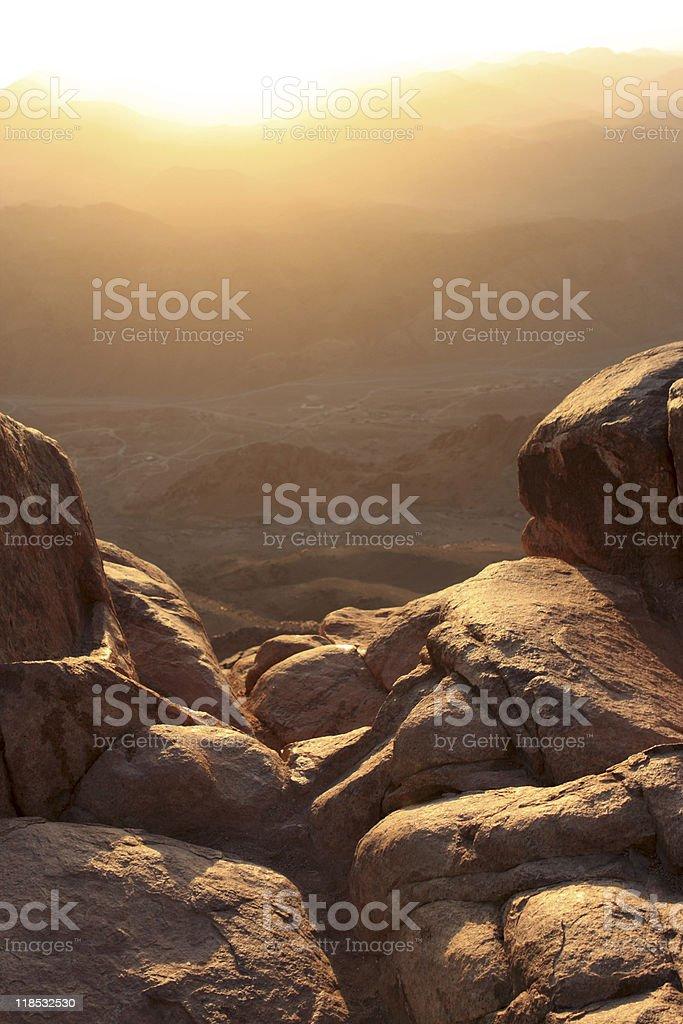 Mt Sinai at sunrise stock photo