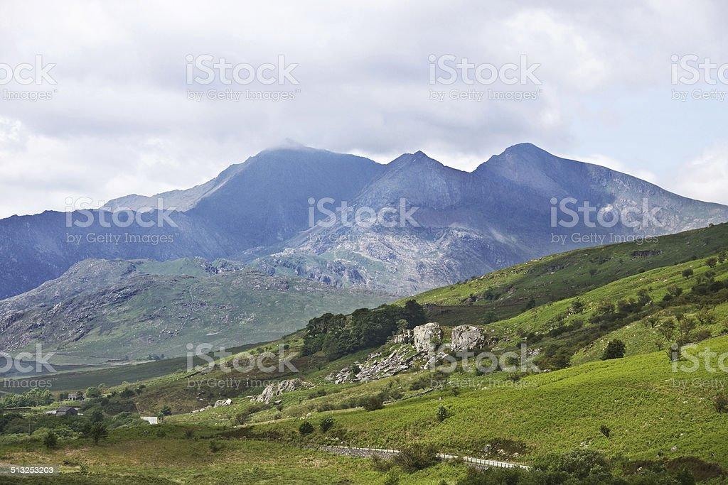 Mt Snowdon from Dyffryn Mymbyr stock photo