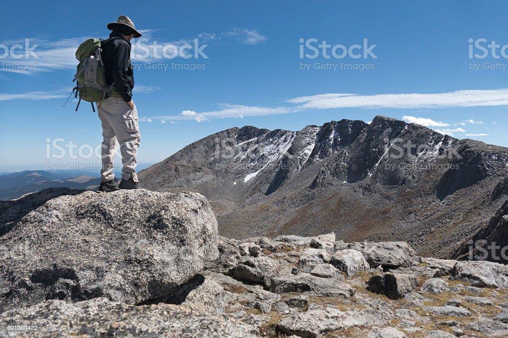 Mt Spalding hiker Mount Evans Rocky Mountain Front Range Colorado stock photo