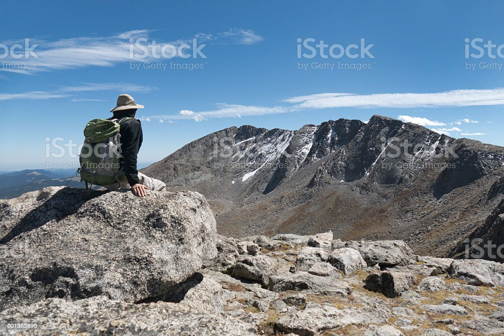 Mt Spalding hiker Mount Evans Rocky Mountain Front Range Colorado stock photo