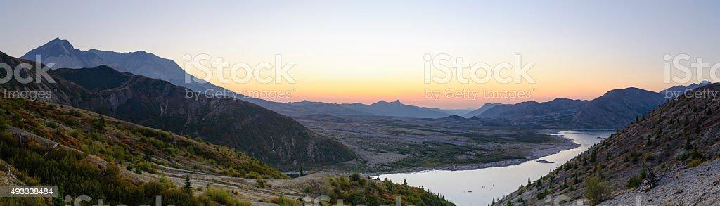 Mt St. Helen Panorama at dusk stock photo