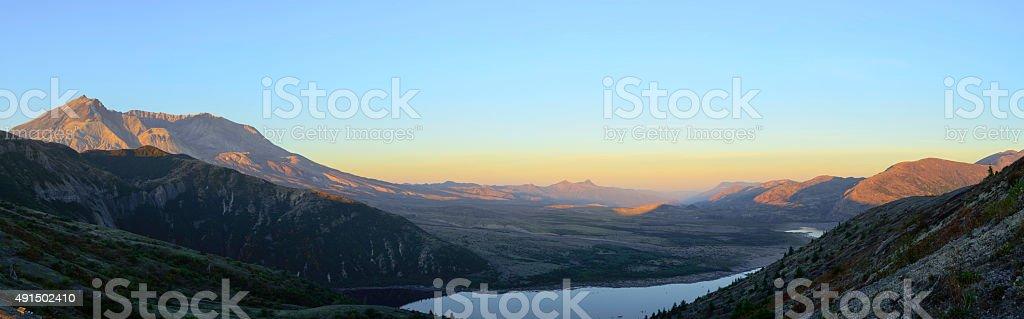 Mt St. Helens at Sunrise Panorama stock photo