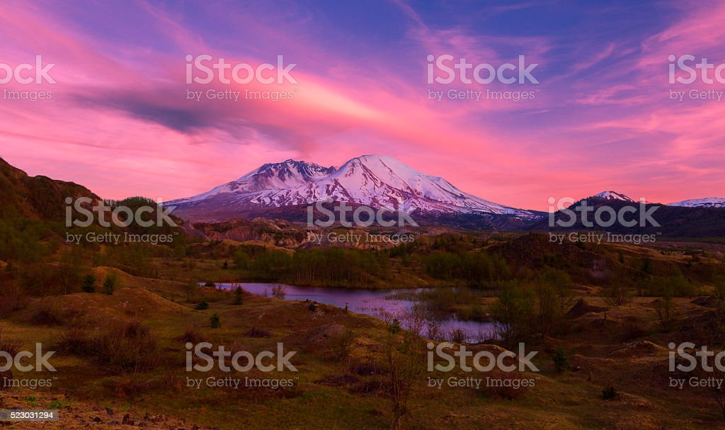 Mt St Helens at Sunset. stock photo