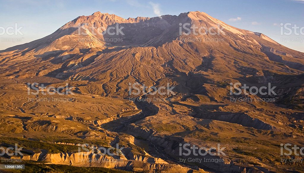 Mt St Helens by sunset stock photo