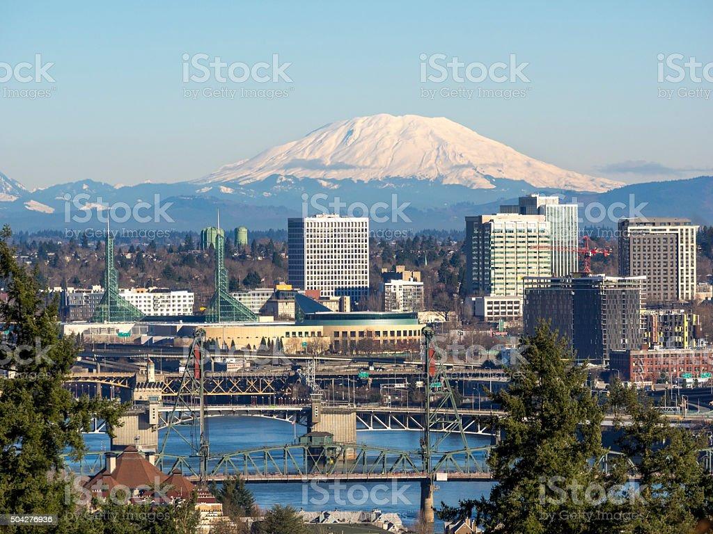 Mt St Helens Portland Oregon Downtown Willamette River Bridges stock photo