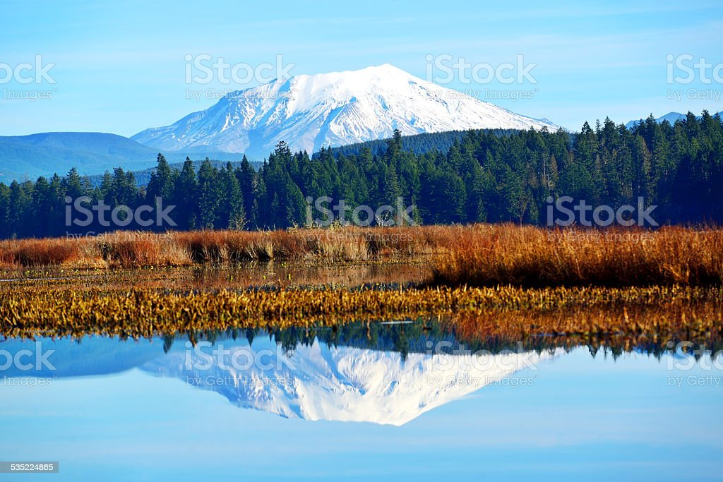 Mt St Helens reflecting in Silver Lake stock photo
