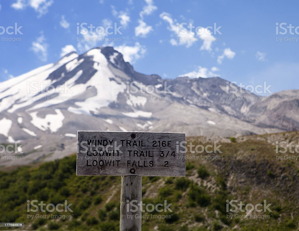 Mt. St. Helens Trail Sign royalty-free stock photo