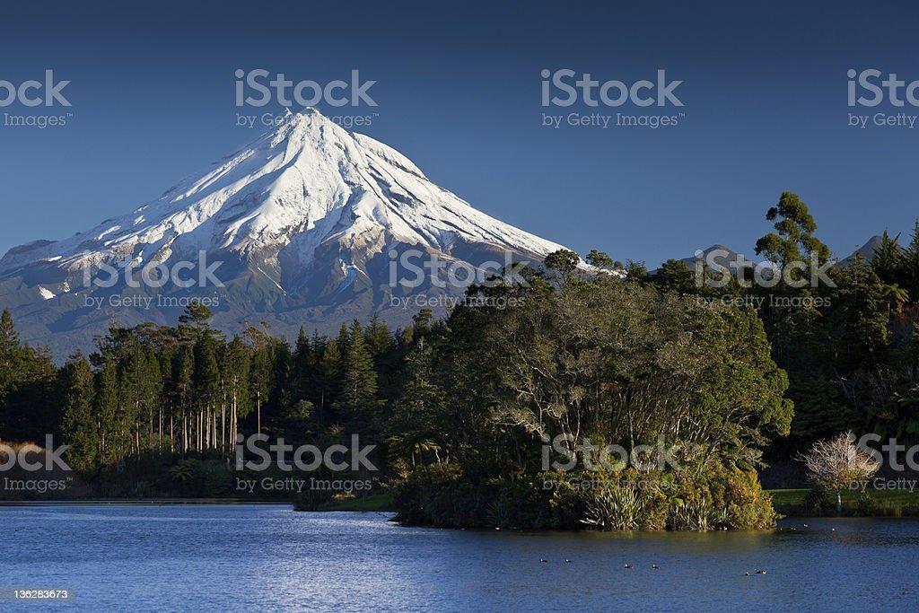 Mt Taranaki from Lake Mangamahoe stock photo