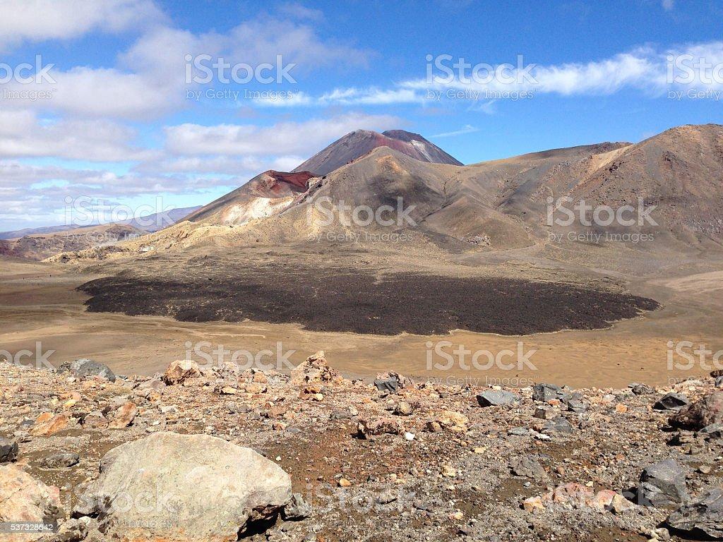 Mt Tongariro and Mt Ngauruhoe - Tongariro National Park, NZ stock photo