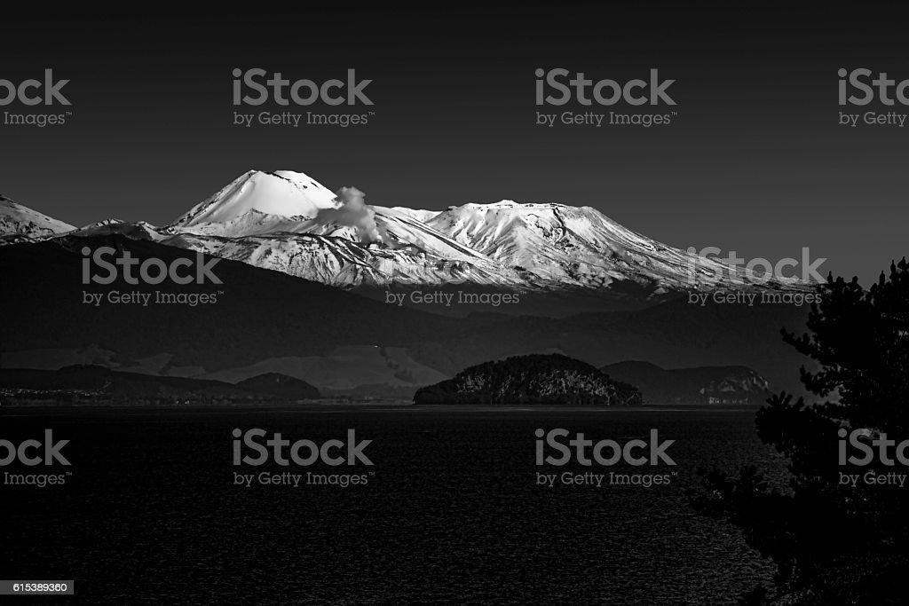 Mt Tongariro at twilight stock photo