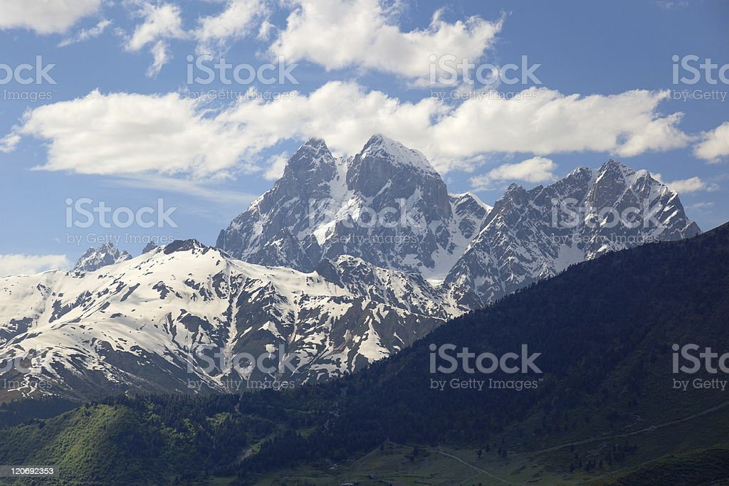 Mt. Ushba Near Mulakhi Village. Upper Svaneti. Georgia. royalty-free stock photo