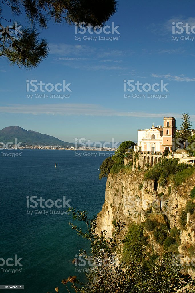 Mt Vesuvius from Vico Equense, near Sorrento stock photo
