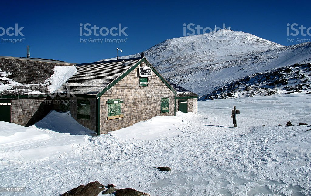 Mt Washington and AMC's Lakes of the Clouds Hut stock photo