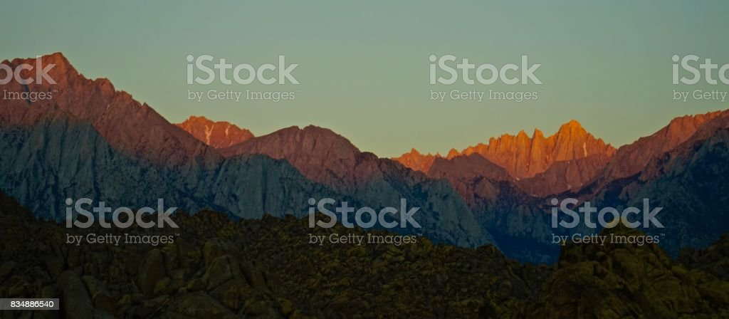 Mt. Whitney Alpenglow stock photo