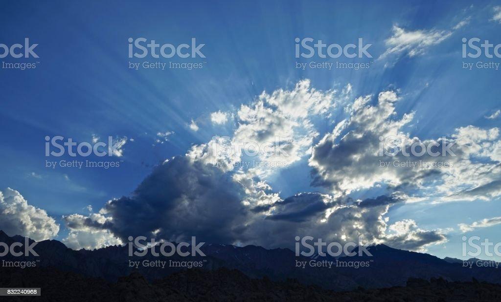 Mt. Whitney Light Beams stock photo