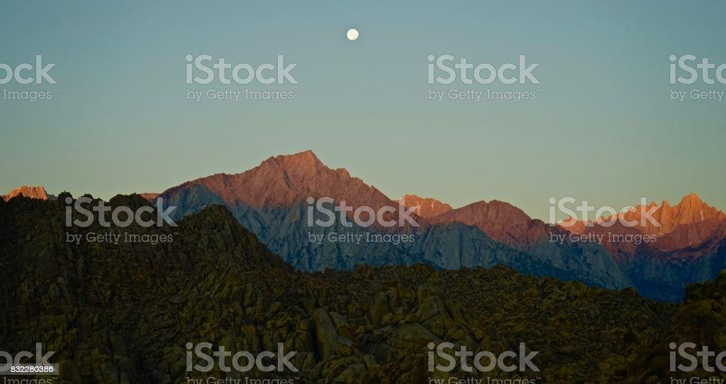 Mt. Whitney Moonfire stock photo