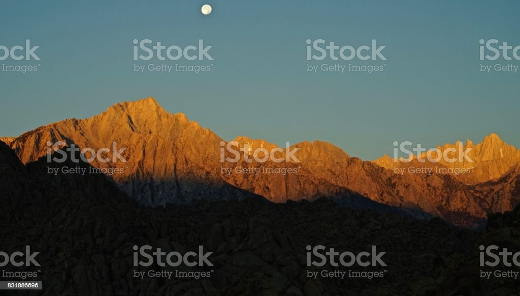 Mt. Whitney's Golden Moon stock photo