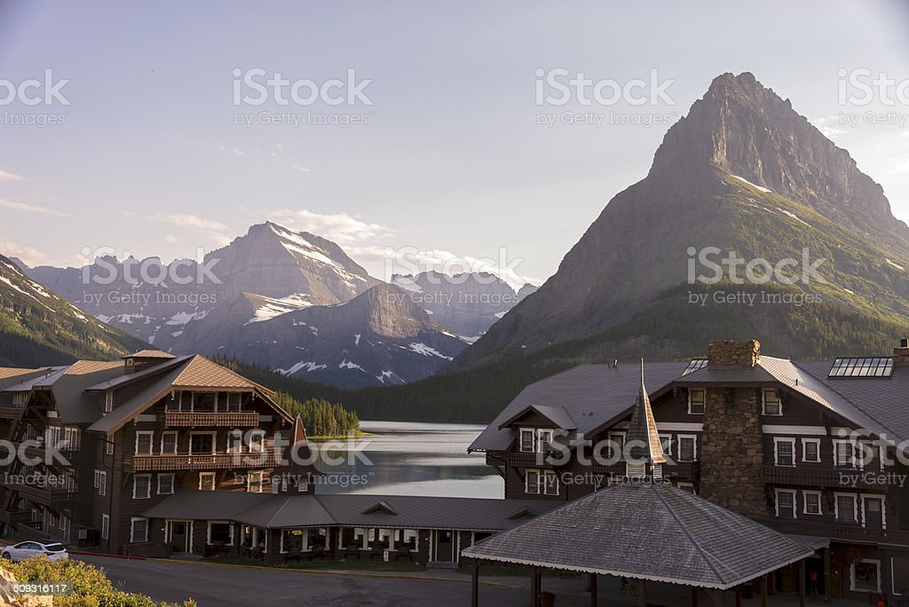 Mt. Wilbur at Many Glacier stock photo