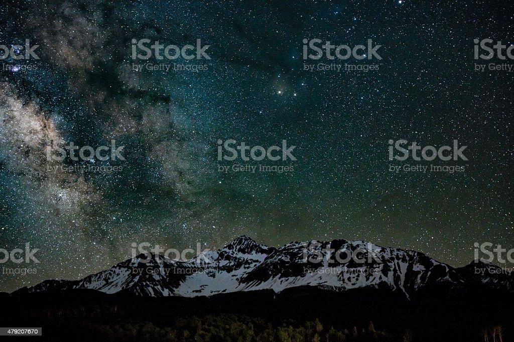 Mt. Wilson Colorado and Milky Way stock photo