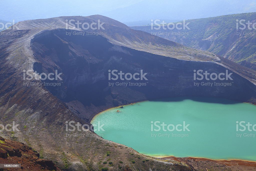Mt. Zao and crater lake stock photo