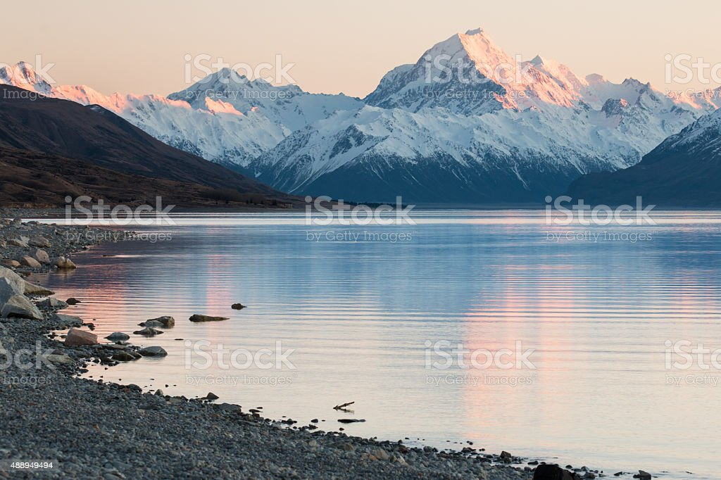 Mt.Cook lit by first rays of sun, New Zealand stock photo