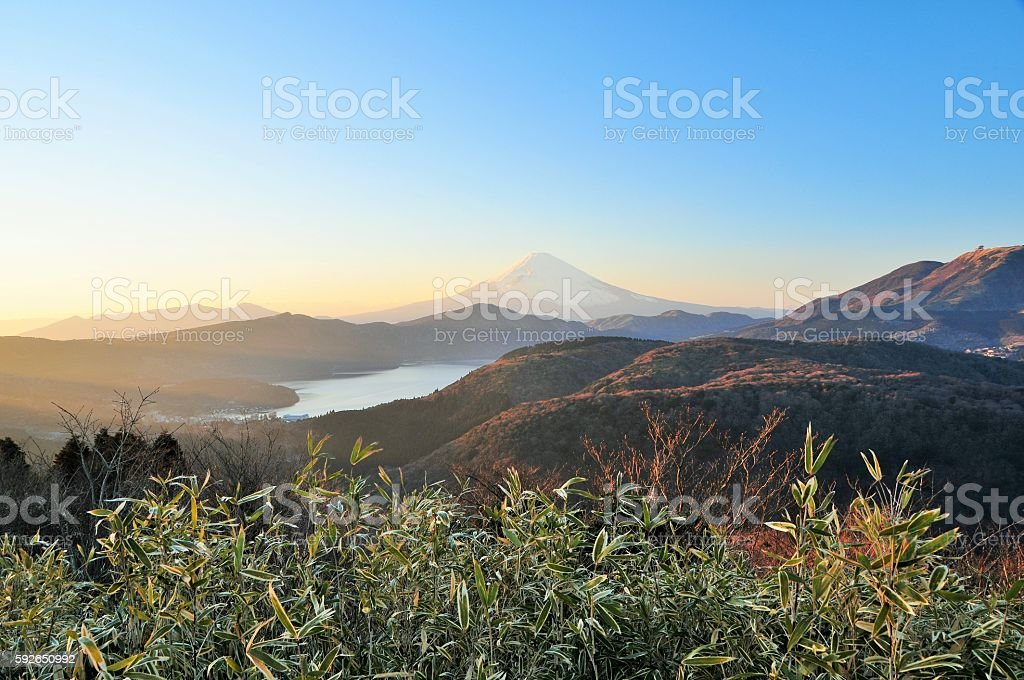 Mt.Fuji and  Lake Ashinoko stock photo