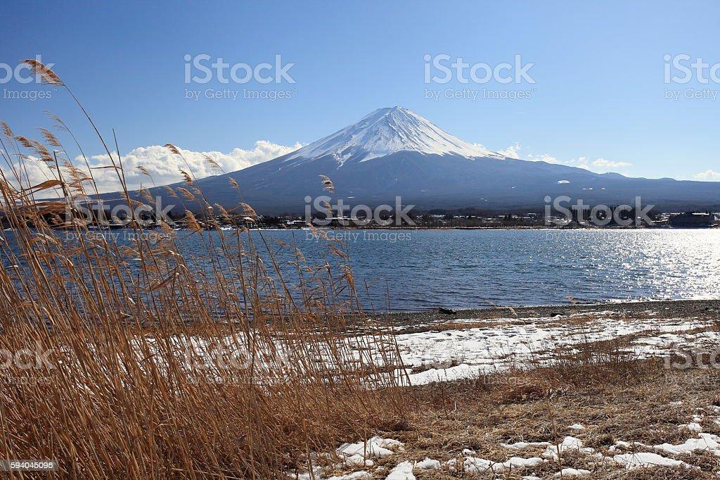 Mt.Fuji and lake kawaguchiko stock photo