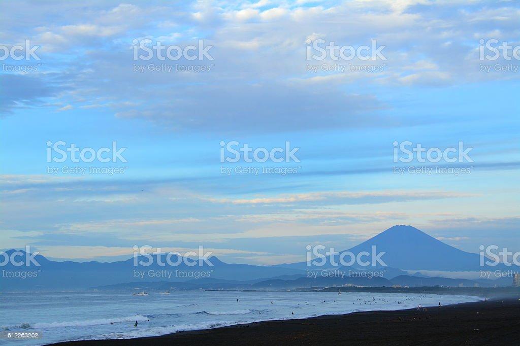 Mt.Fuji and Pacfic ocean stock photo
